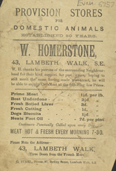 Advert for W Homerstone, butchers